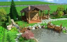 Дизайн двора частного дома с баней и беседкой